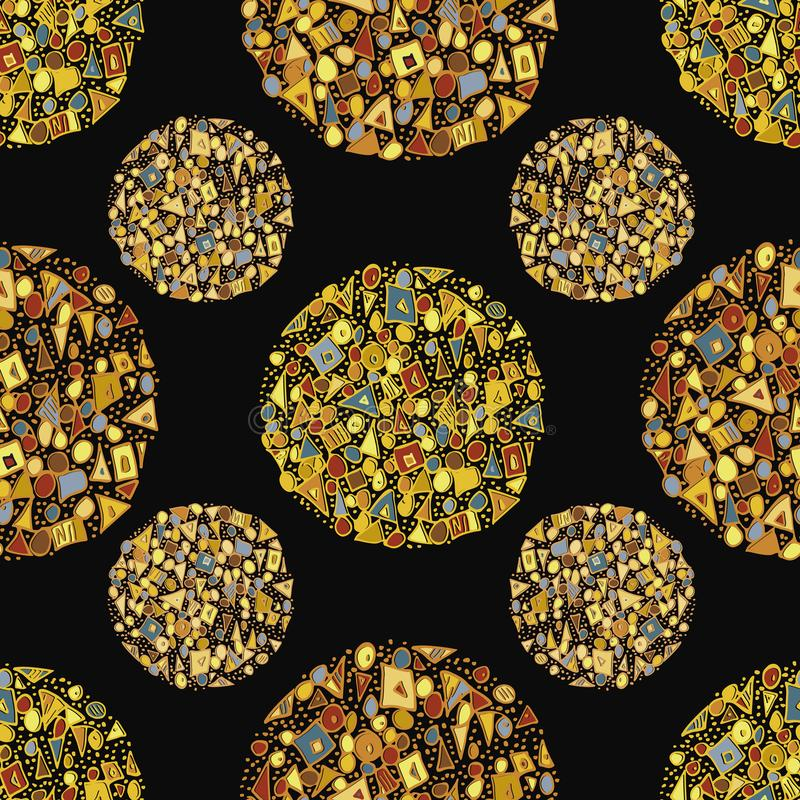 Красивые абстрактные золотые круги, созданные из треугольников, квадратов и точек Прозрачный вектор на черном фоне иллюстрация штока