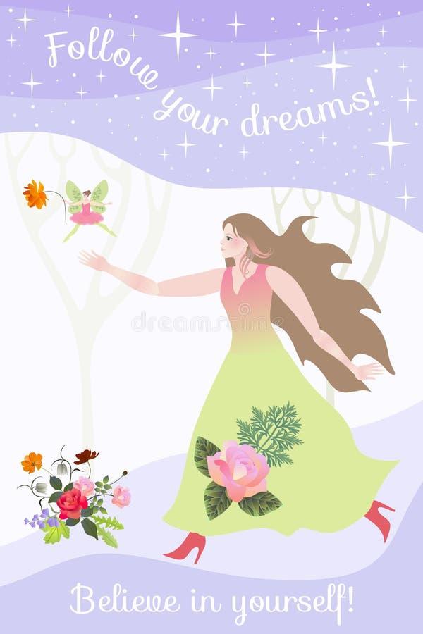 Красивые бега девушки для феи в волшебном лесе следовать вашими мечтами Верьте в себе бесплатная иллюстрация