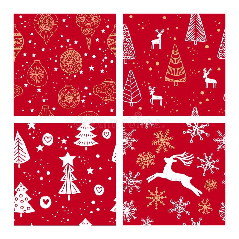 Красивые безшовные картины рождества и зимы, нарисованные вручную Много праздничных элементы и картин иллюстрация штока