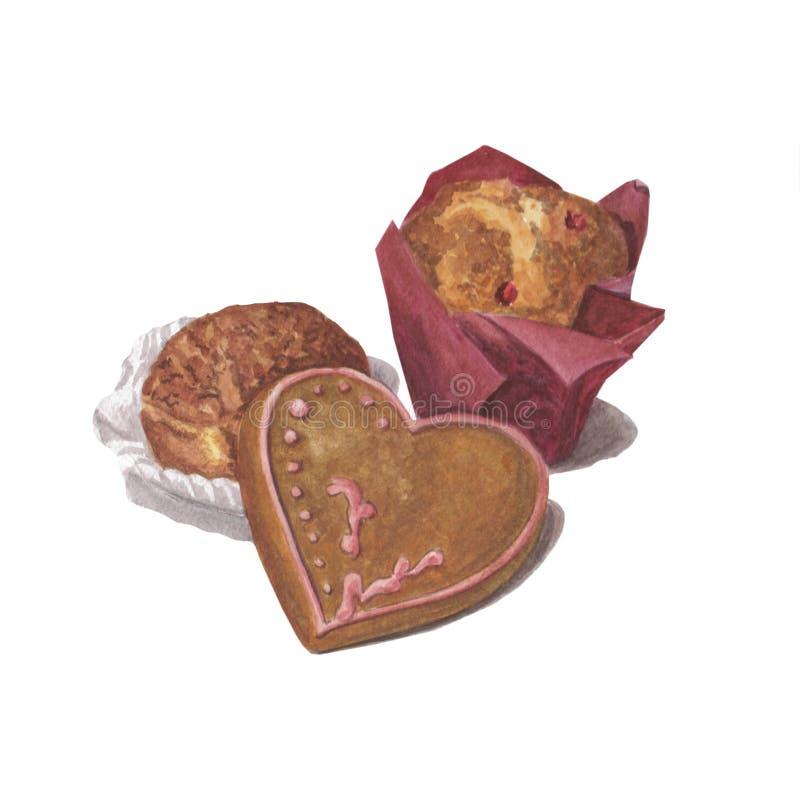 Красивые булочки акварели с candied плодом и печеньями с розовой замороженностью Выпечка изолированная на белой предпосылке стоковые изображения rf