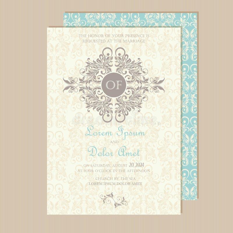 Красивые винтажные приглашения свадьбы иллюстрация штока