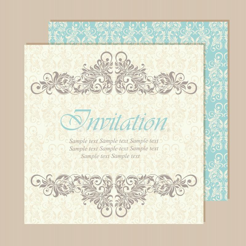 Красивые винтажные приглашения свадьбы иллюстрация вектора