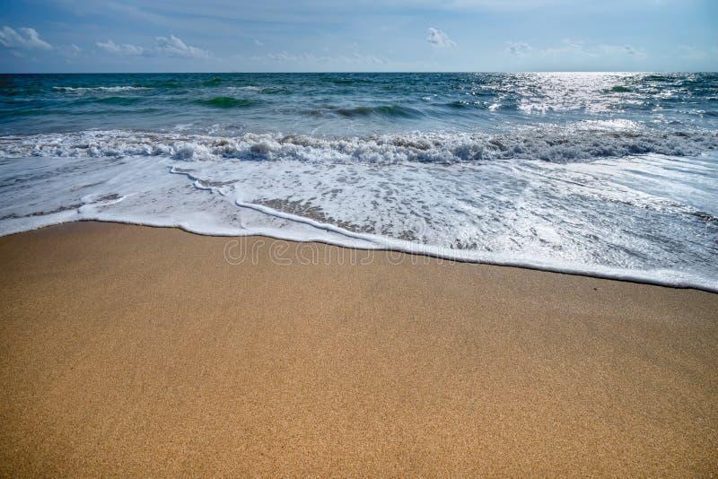 Красивые волны голубого океана на точном пляже песка стоковые фотографии rf