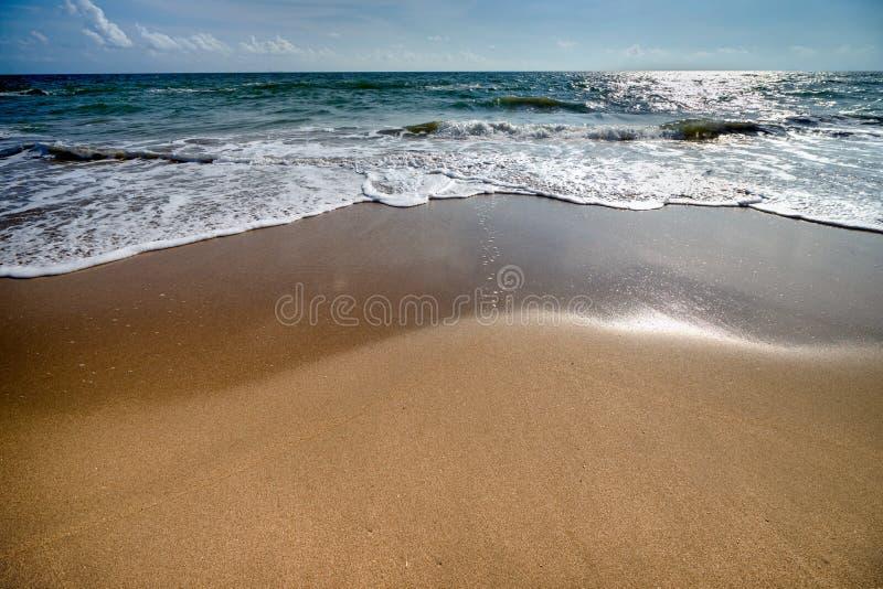 Красивые волны голубого океана на точном пляже песка стоковые фото