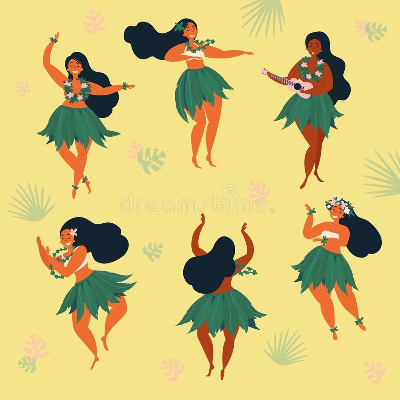 Красивые гаваиские hula и гавайская гитара танцев девушки иллюстрация вектора