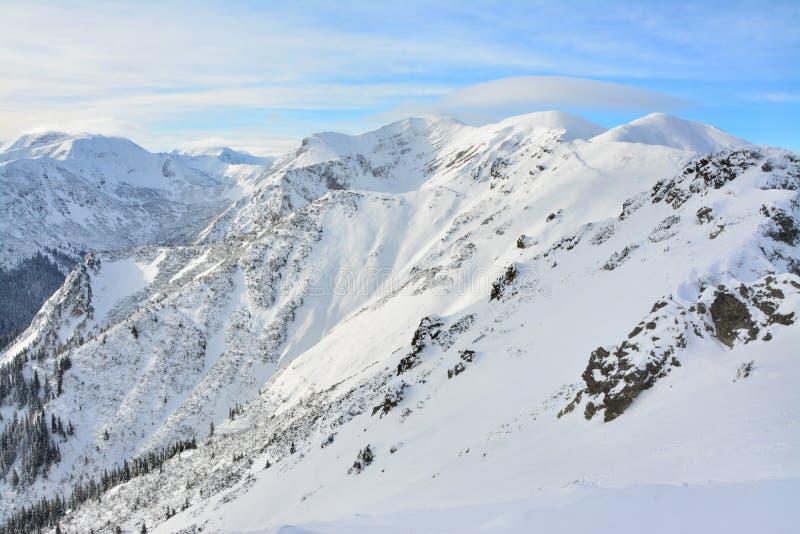 Красивые горные пики в зиме стоковое изображение rf
