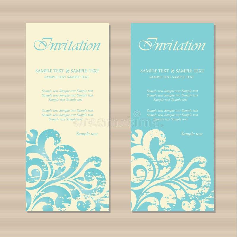 Красивые голубые винтажные карточки приглашения иллюстрация штока