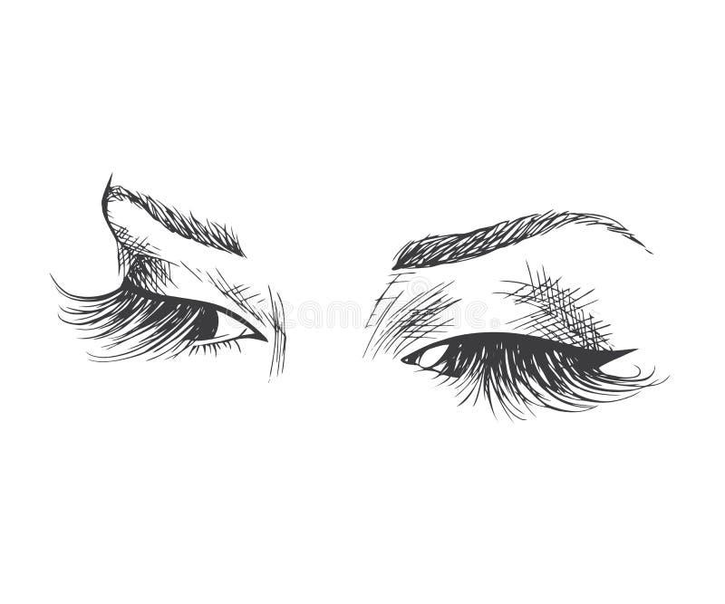 Красивые глаза с длинными ресницами иллюстрация штока