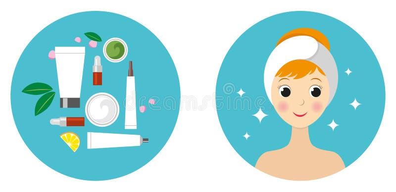 Красивые девушка и набор изолированных косметических продуктов стоковое изображение rf