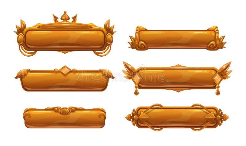 Красивые декоративные знамена названия металла иллюстрация вектора