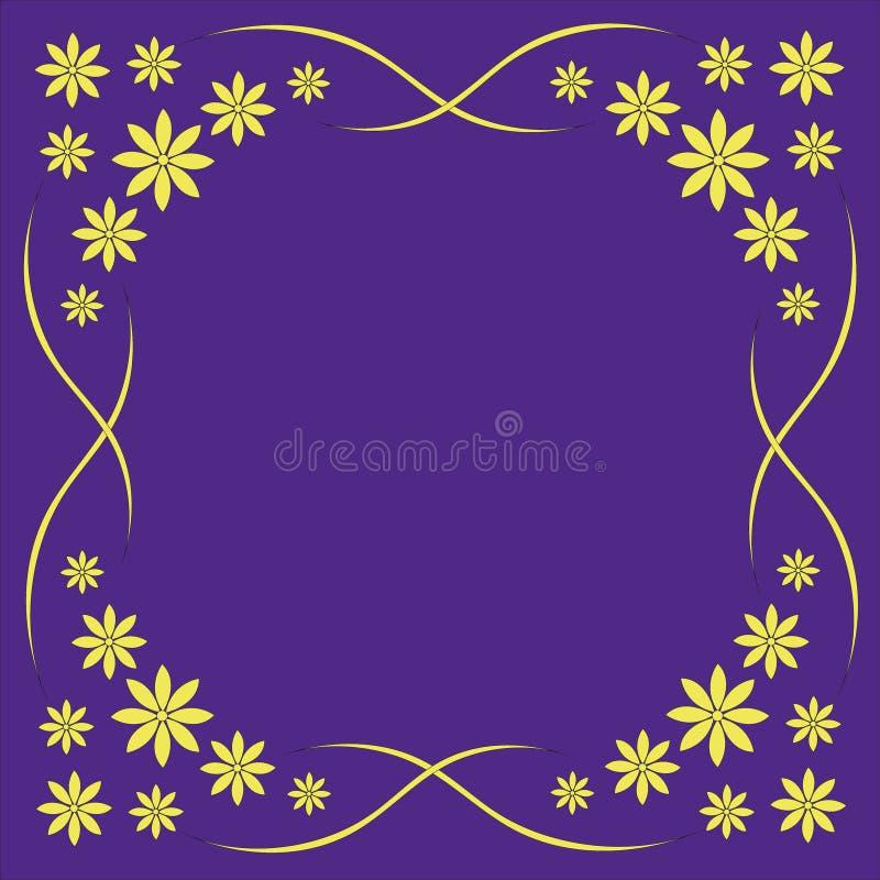 Красивые желтые цветки на фиолетовой предпосылке, рамке для поздравительных открыток, предпосылке для поздравлений, красивых camo бесплатная иллюстрация