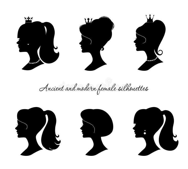 Красивые женские установленные силуэты Современные и старые профили молодой женщины Изолировано на белизне иллюстрация вектора