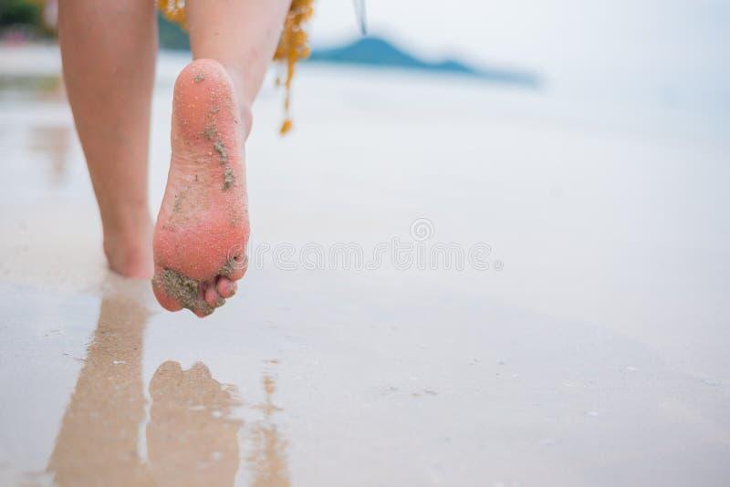 Красивые женщины идут самостоятельно на пляж на лете стоковые изображения rf