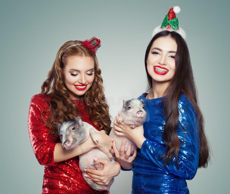 Красивые женщины рождества в платье яркого блеска держа маленьких свиней Концепция партии рождества и Нового Года стоковые изображения