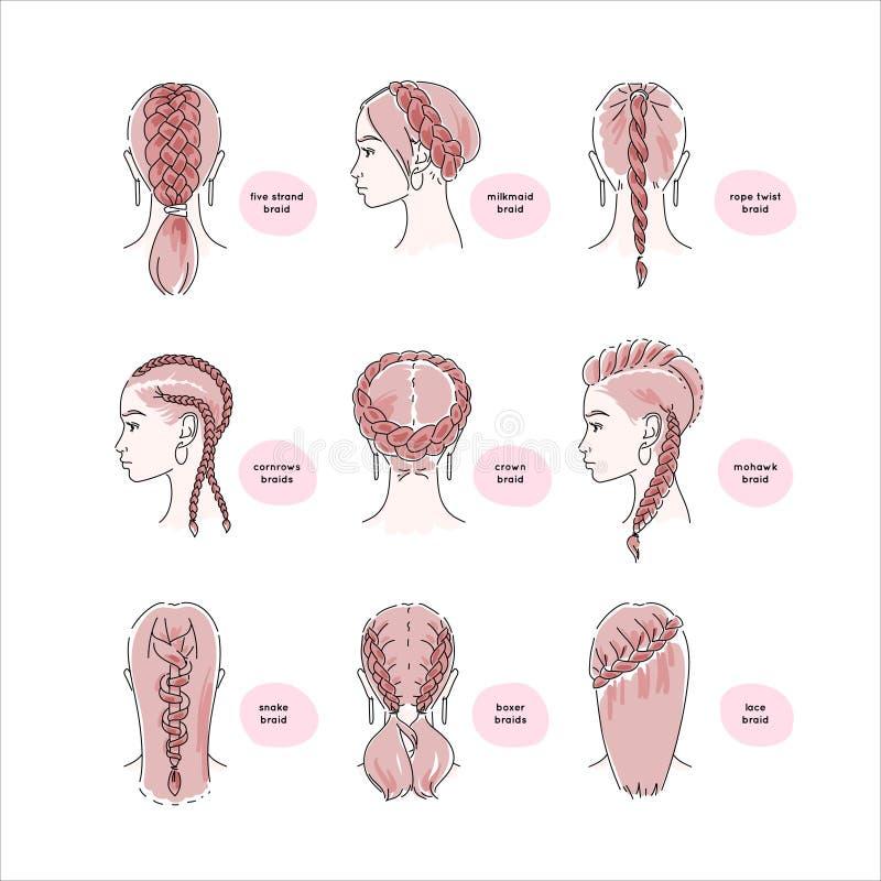 Красивые женщины с оплетками волос иллюстрация штока