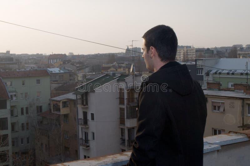 Красивые заходы солнца и взгляды города с модельным ‡ Danilo MaziÄ стоковое изображение rf