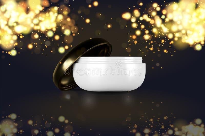 Красивые косметические шаблоны для объявлений, реалистической белизны 3d и модель-макета золота раздражают для сливк заботы кожи  бесплатная иллюстрация