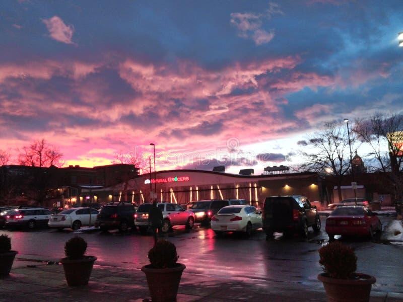 Красивые красочные небеса Колорадо стоковые фотографии rf