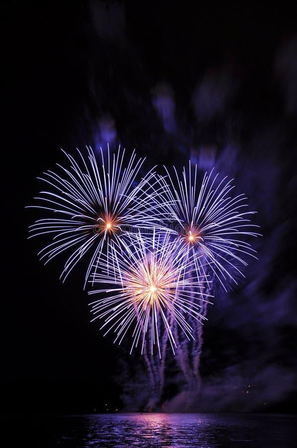Красивые красочные фейерверки на воде Фиолетовое отражение фейерверков Запруда Брна Международная конкуренция Ignis Brunensis фей стоковое фото rf