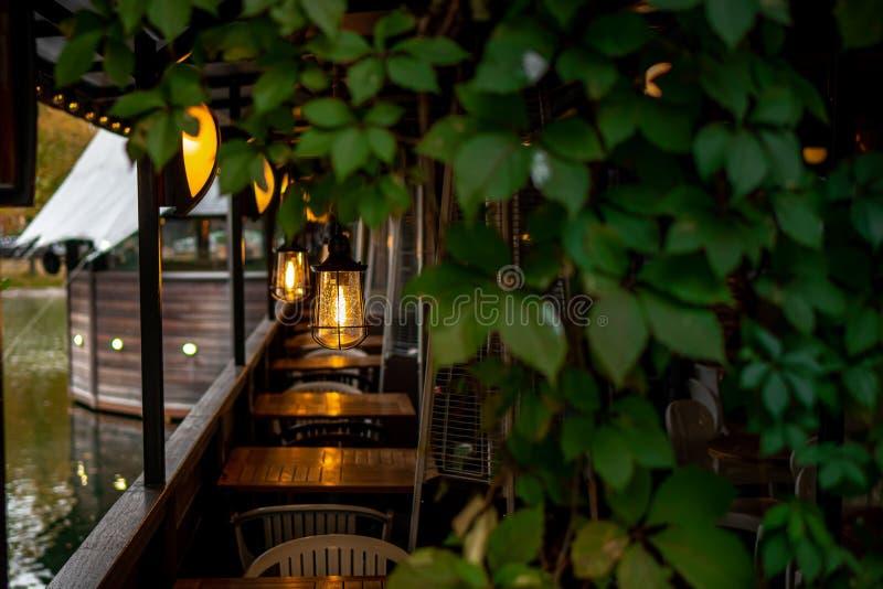 Красивые лампочки в ресторане на пруду стоковое фото rf