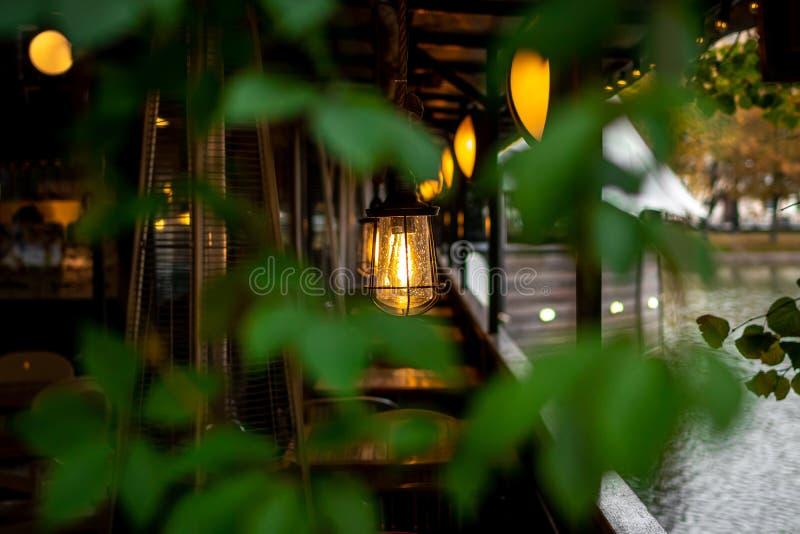 Красивые лампочки в ресторане на пруду стоковое изображение