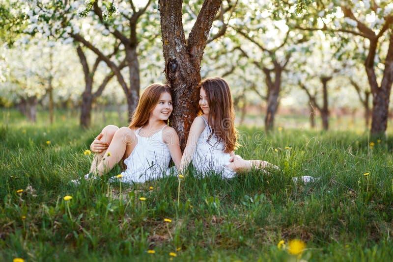 Красивые маленькие девочки в белых платьях в саде с яблонями blosoming на заходе солнца друзья обнимая 2 стоковые изображения