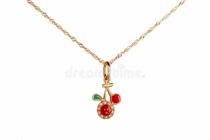 Красивые милые ювелирные изделия ожерелья младенца & детей с красной вишней стоковое изображение rf