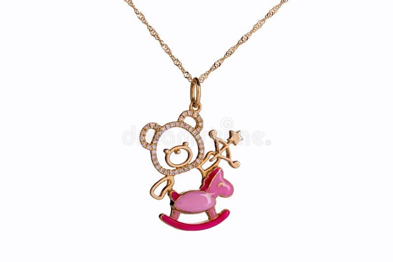 Красивые милые ювелирные изделия ожерелья младенца & детей с плюшевым медвежонком иллюстрация штока