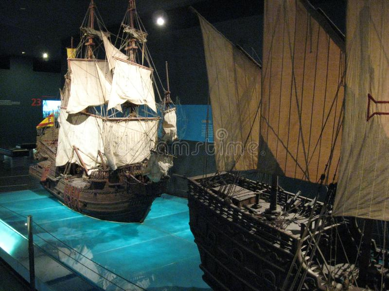 Красивые модельные корабли в музее Ayala, городе Makati, Филиппинах стоковое фото