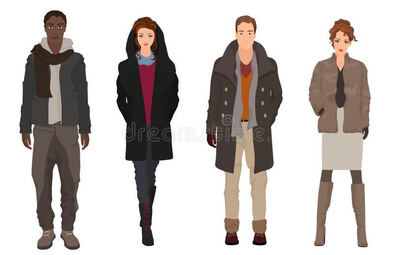 Красивые молодые парни с красивыми девушками моделируют в зиме бесплатная иллюстрация