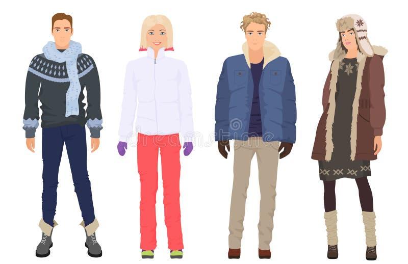 Красивые молодые парни с красивыми девушками моделируют в изолированных одеждах моды зимы теплых вскользь современных Пары людей иллюстрация вектора