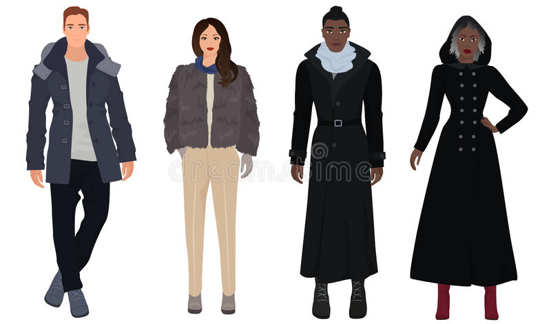 Красивые молодые парни с красивыми девушками моделируют в одеждах моды зимы теплых вскользь современных черная белизна иллюстрация вектора
