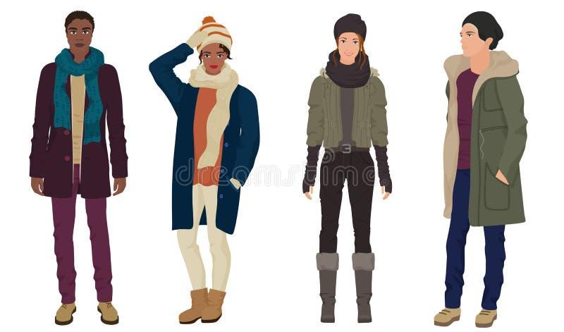 Красивые молодые парни с красивыми девушками моделируют в одеждах моды зимы теплых вскользь современных черная белизна иллюстрация штока