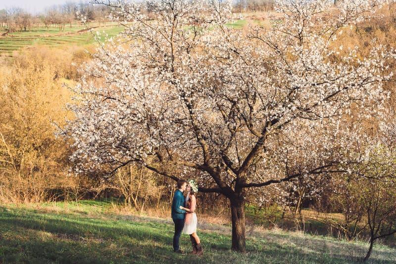 Красивые молодые любящие пары обнимая в весне цветения садовничают стоковое изображение