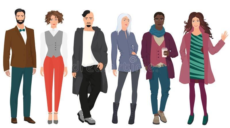 Красивые молодые люди парней с красивыми милыми девушками моделируют пар в одеждах моды вскользь улицы современных бесплатная иллюстрация