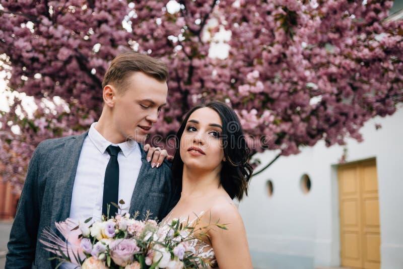 Красивые невеста и стильные холят Шикарное платье свадьбы стоковые фотографии rf