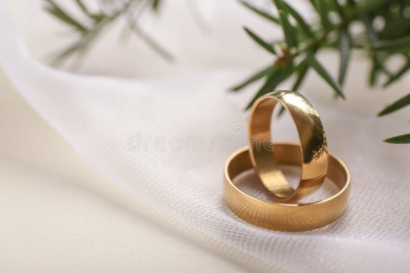 Красивые обручальные кольца на светлой ткани стоковое фото