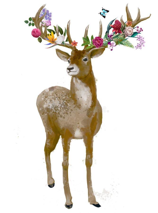 Красивые олени с флористическим венком иллюстрация штока