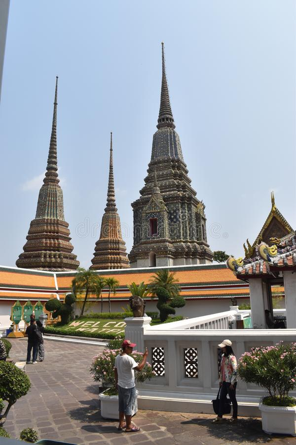 Красивые пагоды Wat Pho, одно из большинств известного в Таиланде стоковое изображение rf