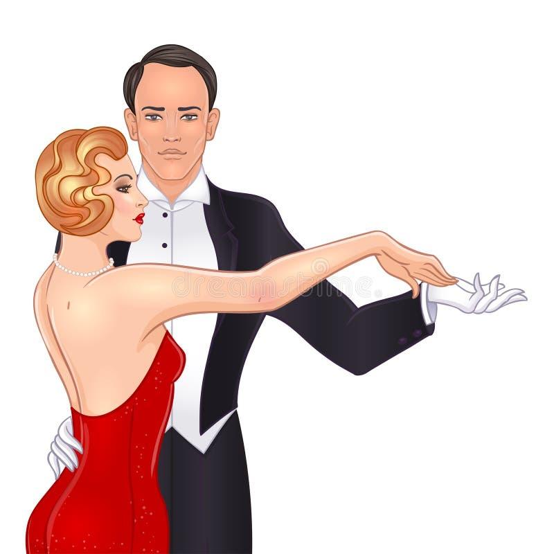 Красивые пары в танго танцев стиля стиля Арт Деко Ретро мода: иллюстрация вектора