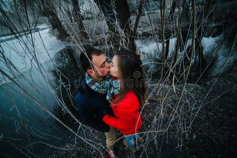 Красивые пары представляя около замороженного реки стоковая фотография