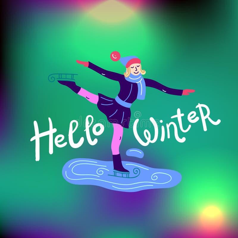 Красивые плоские activites спорта зимы иллюстрации вектора иллюстрация штока