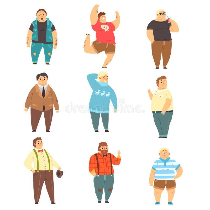 Красивые полные люди установили, тучные парни в модных одеждах, иллюстрациях вектора тела положительных на белой предпосылке иллюстрация вектора