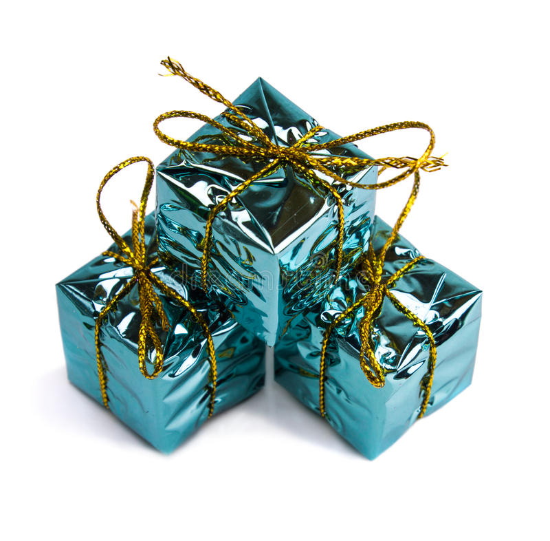 Красивые подарки на рождество изолированные на белой предпосылке стоковое изображение