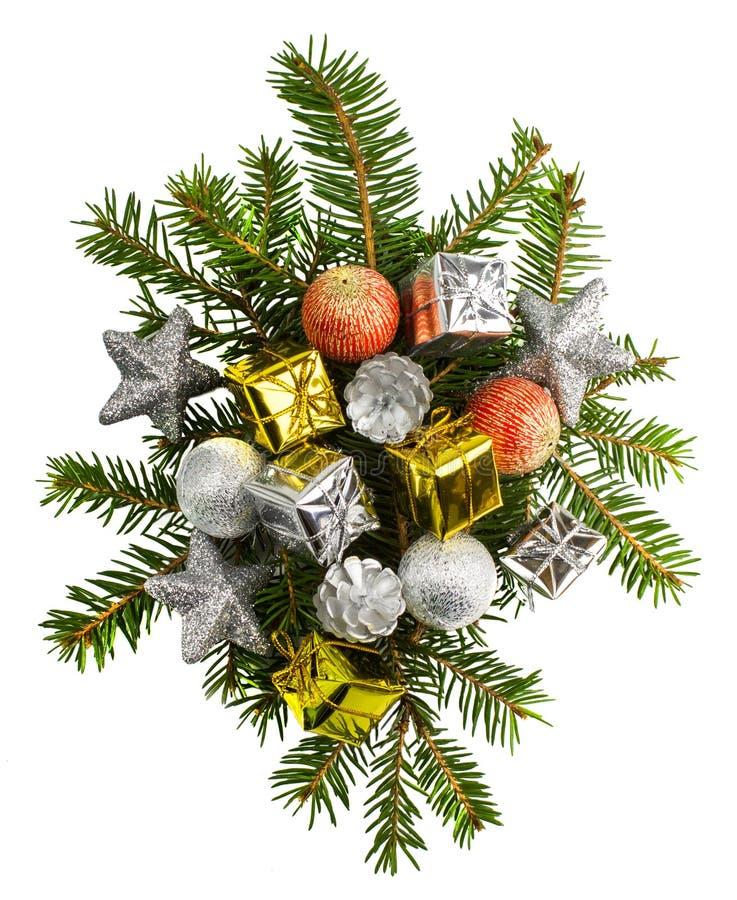 Красивые подарки на рождество изолированные на белой предпосылке стоковые изображения rf