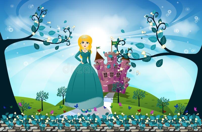 Красивые принцесса и замок иллюстрация вектора ...