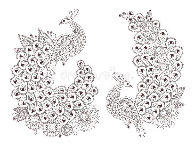 Красивые птицы павлина вектора в индийском стиле mehndi бесплатная иллюстрация