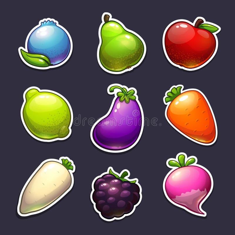 Красивые плодоовощи, ягоды и стикеры овощей иллюстрация вектора