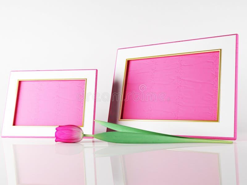 Красивые рамки и тюльпан иллюстрация штока