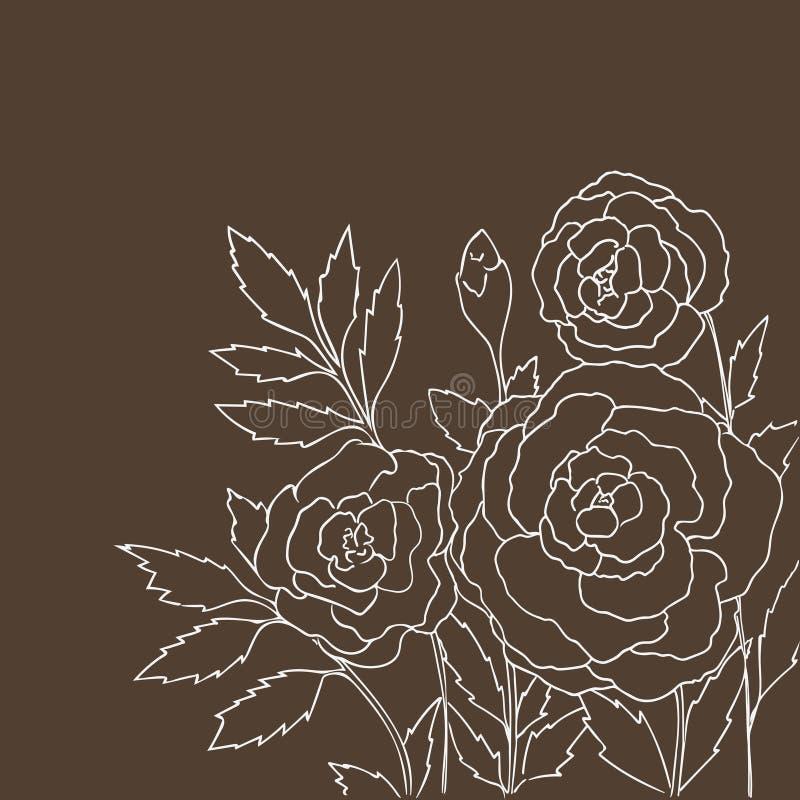 Красивые розы изолированные на темной бежевой предпосылке иллюстрация нарисованная рукой с цветками бесплатная иллюстрация
